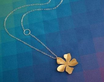 Brass Flower Pendant, Long Necklace with Brass Flower