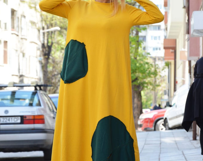 Plus Size Yellow Long Dress, Maxi Dress, Extravagant Loose Kaftan, Oversize Dress, Loose Day Evening Comfortable By SSDfashion