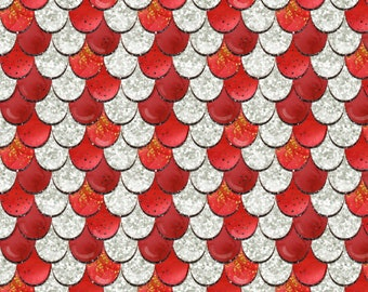 Red Scales Bamboo Spandex Knit, Scale Fabric, Fish Scale Fabric, Dragon Scale Fabric, Fish Scale Material, Dragon Print Fabric, Kid Fabric