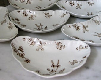 Johnson Brothers Semi-Porcelain England Petunia # 15861 Antique Historical Crescent Bone Dishes