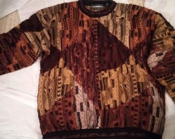 Tundra Men's Sweater size Large-Tan-Black-Burnt Orange-Cream