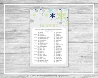 Winter Baby Shower How Sweet It Is Game - Printable Baby Shower How Sweet It Is Game - Baby It's Cold Outside Baby Shower - Game - SP142