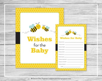 Bumble Bee Baby Shower Wishes for Baby Cards - Printable Baby Shower Wishes for Baby Cards - Bumble Bee Baby Shower - Baby Wishes - SP138