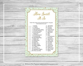 Mint and Gold Baby Shower How Sweet It Is Game - Printable Baby Shower How Sweet It Is Game - Mint and Gold Confetti Baby Shower - SP147