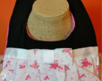 Just Reduced -  Clearance - Eyelet Dress  Baby Bib - Pink - Trendy - Chic - Handmade