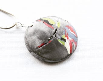 "Abstract Modern Silver Multi Polymer Clay Pendant with Sterling Silver Bail and OPTIONAL 18"" Sterling Silver Snake Chain Gifts for Her"