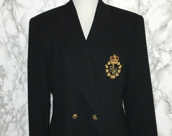 Vintage Ralph Lauren Blazer with Emblem Double Breasted