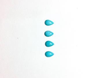 4 pcs. 6mm Teardrop Turquoise Cabochon