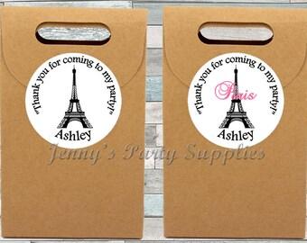 12 or 20 Personalized Paris Stickers, Paris Favor Bag Stickers, Paris Goodie Bag Stickers, Eiffel Tower Favor Stickers