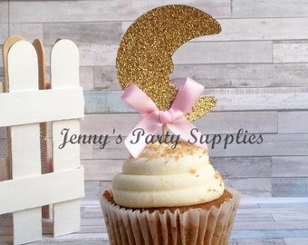 Set of 12 Gold Moon Toppers, Over the Moon Cupcake Toppers, Gold and Pink Glitter Moon Picks, Star Cupcake Toppers