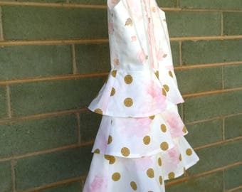 girls dress, twisted back dress, size 6-7 years, girls party dress, pink roses and dots dress, girls special occasion dress, modern