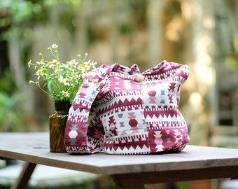 Geometric Design Pattern Shoulder Bag Sling CrossBody Bag Messenger Bag Cotton Bag Hippie Boho Bag Multi color Handmade