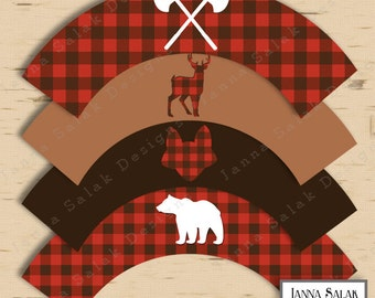 Lumberjack Cupcake Wrappers Printable Buffalo Plaid Rustic Baby Shower or Birthday Party DIY INSTANT DOWNLOAD LJ01