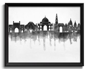 Black White Grey Delhi Skyline India Cityscape Art Print Poster Watercolor Painting