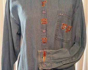 FSU Bling Denim Button Down Shirt Size L
