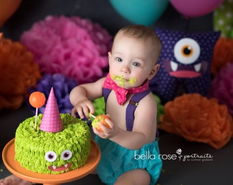 Monster 1st birthday outfit, monster cake smash set, baby boy 1st birthday clothes, monster bow tie and suspenders, baby boy diaper cover