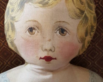 """Antique cloth advertising dolly 24"""" Art Fabric Mills Doll c. 1900"""