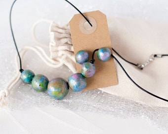 """Crab Nebula Clay Pearl Necklace and Stud Earrings Set, """"Space Jewelry"""" Series"""
