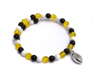 Football Mom Jewelry - Custom Team Spirit Wear - Football Bracelets for Mom - Football Girlfriend Jewelry - Football Fan Gear - Team Mom