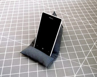 Android Cell Phone Stand, Gray Mobile Phone Holder, Triangle Smartphone Cushion, IPhone Pillow, Grey Cell Phone Prop