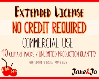 EXTENDED LICENSE No Credit Required / 10 products - Unlimited Production Quantity : Commercial Use for Clipart or Digital Paper