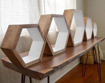 Hexagon Shelves - Wood Floating Shelf - Hexagon Shelf - Geometric Shelves - Geometric Shelf - Floating Shelves - Honeycomb Shelf - Set of 5