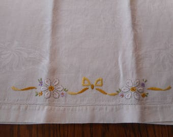 Vintage Dish Towel - Hand Embroidered embossed Linen- White Daisies and yellow Ribbon