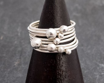 Silver ring, Nuggets, stack rings