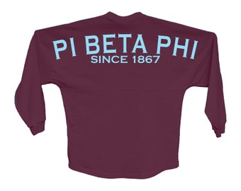 PiPhi Pi Beta Phi Since Jersey Choose Your Colors Sorority Oversized Jersey