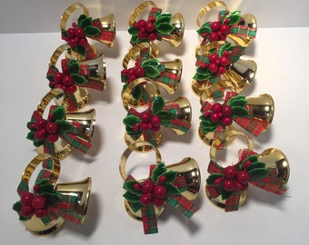 Vintage set of 12 christmas bell napkin rings with holly leaves and berries