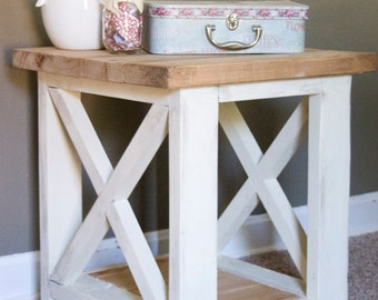 custom farmhouse end table rustic side table living room table bedroom table