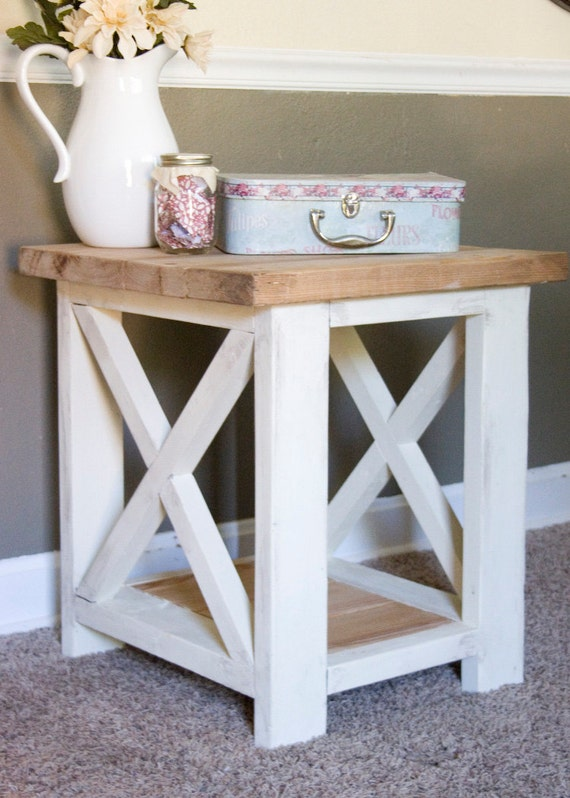 custom farmhouse end table rustic side table living room. Black Bedroom Furniture Sets. Home Design Ideas