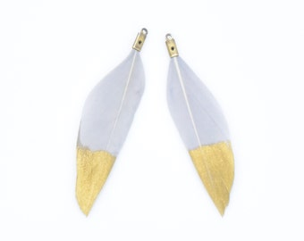 Gray Feather Pendant . Genuine Duck Feather . Gold Feather Charm . Burnished Gold Plated over Brass - 2pcs / TD0001-GY