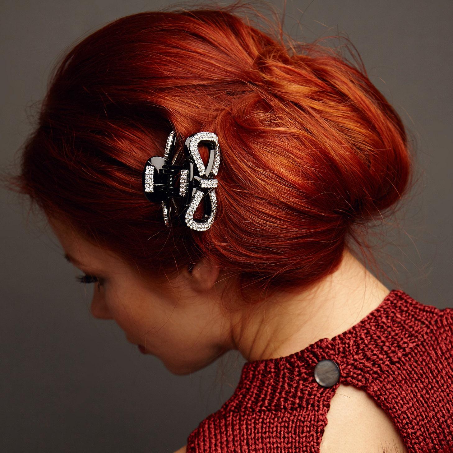 bow hair clip bow crystal hair clip black hair claw clip