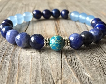 Gemstone bracelet, Men bracelet, Blue bracelet, Stretch stacking bracelet, gemstone jewelery, Men jewelery, surf bracelet, Yoga bracelet