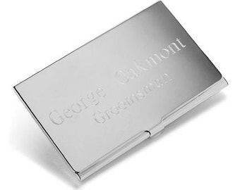 Personalized Silver Plated Business Card Case - Business Card Holder