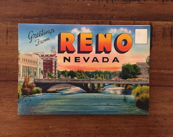 1940s Reno, Nevada Postcard Book/ 9 Double-Sided Photos/ Unused!!!