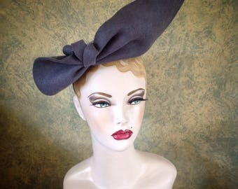 Vintage Style Pewter grey sculptured  felt Hat, 1940s inspired, can be worn 2 ways