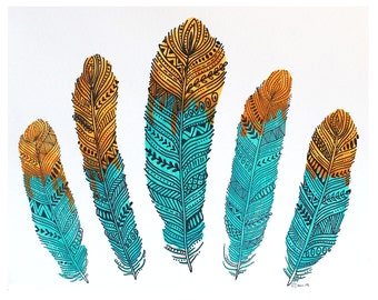 Watercolor Tribal Feathers PRINT