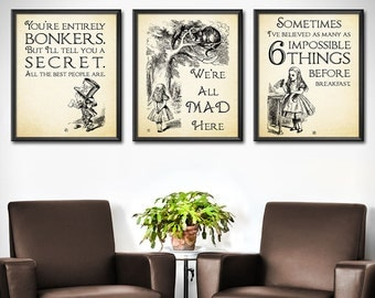 Alice in Wonderland Decor SET OF 3 - Alice in Wonderland Wall Art Decorations - Mad Hatter Quotes Wonderland Party Decor - 0197