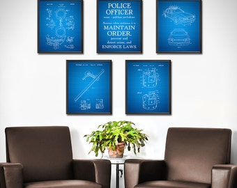 Police Officer Gifts Patent Print SET of 5 - Police Gifts - Police Officer Decor - Police Officer Sign - Police Officer Wife - 1842