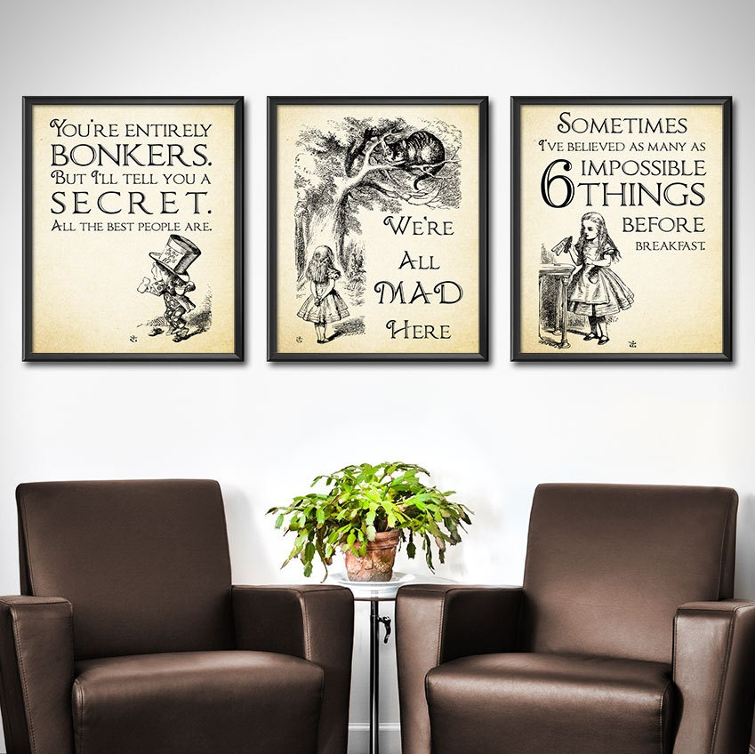Alice In Wonderland Decor SET OF 3   Alice In Wonderland Wall Art  Decorations   Mad