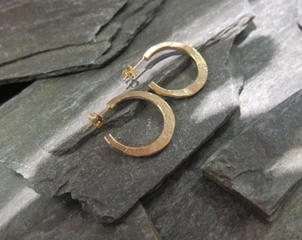 "Gold hoops earrings, gold plated bronze, ""Douchka"" made in France, handcrafted."