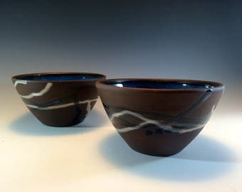 Ceramic rice bowl, cereal bowl, chocolate ceramic bowl, serving bowl, rustic bowl, pottery bowl, noodles bowl, ceramic bowl handmade pottery
