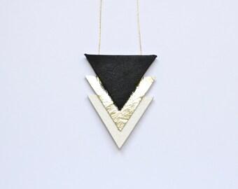 Triple triangle geometric necklace
