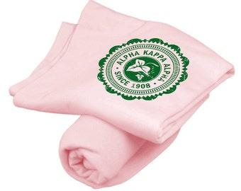 Alpha Kappa Alpha Old School Seal Light Pink Sweatshirt Blanket (kelly green print)