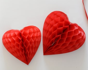Vintage style heart shaped honeycomb decoration / hanging decoration / valentine / party decorations / wedding decorations / backdropp