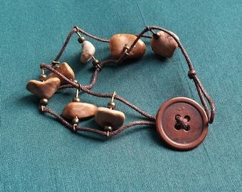 Thanen - bracelet Jaspers copper button clasp