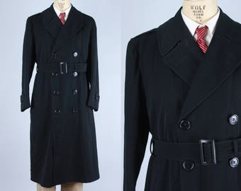Vintage 1940s Men's Coat | Heavy Black Wool Twill Double Breasted Trench Overcoat With Belt & Epaulets - Dated 1942 | Large
