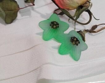 Flower Earrings - plastic and bronze